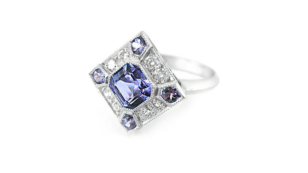 Rare African Tanzanite & Diamond Ring | Art Deco Tanzanite & Diamond Ring