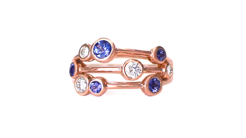 Rare African Tanzanite & Diamond Ring | Tanzanite & Diamond Bubble Ring in Rose Gold