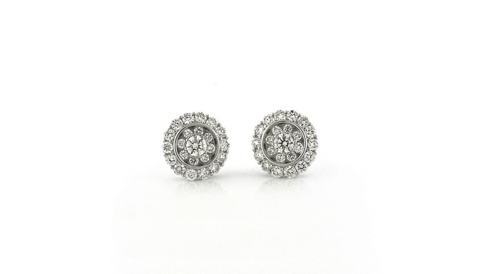 Diamond Earrings | Fancy round cluster stud diamond earrings