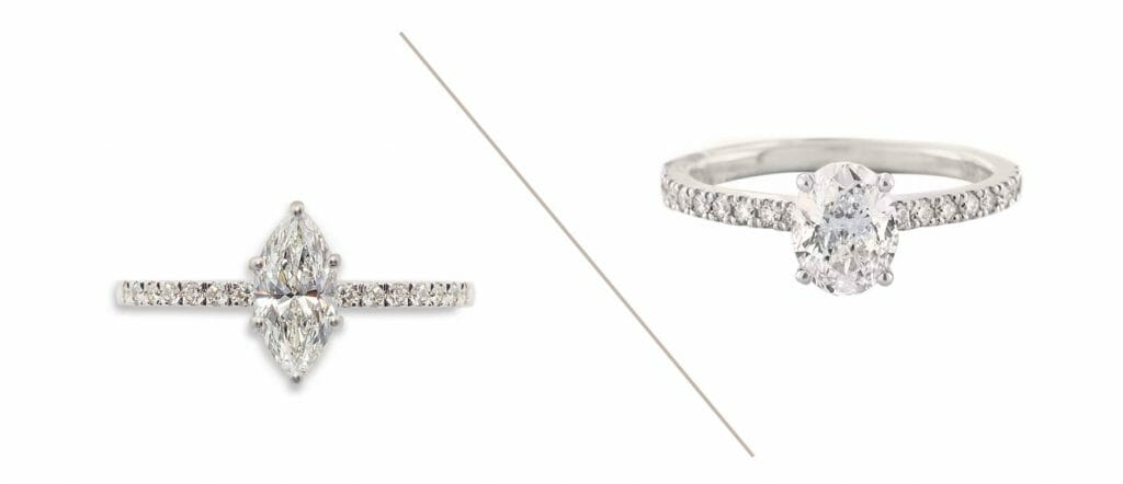Marquise and oval diamond style rings with micro-pave bands.
