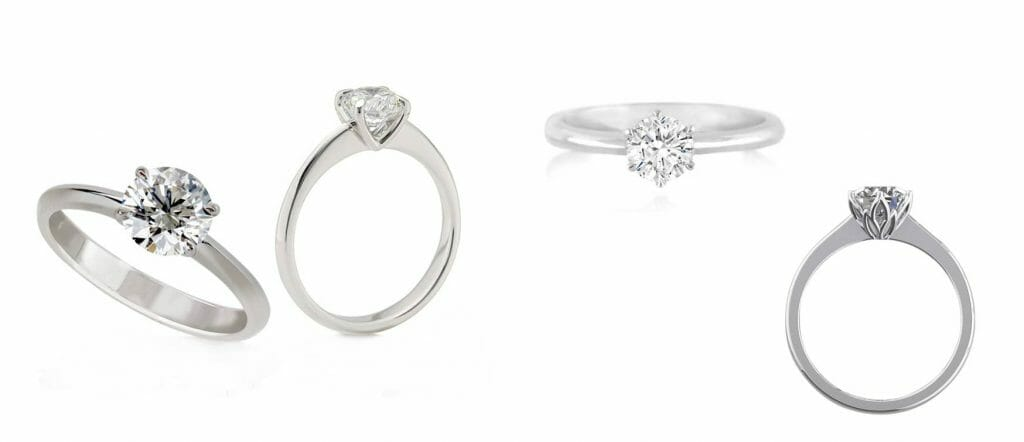 Collection of solitaire ring styles