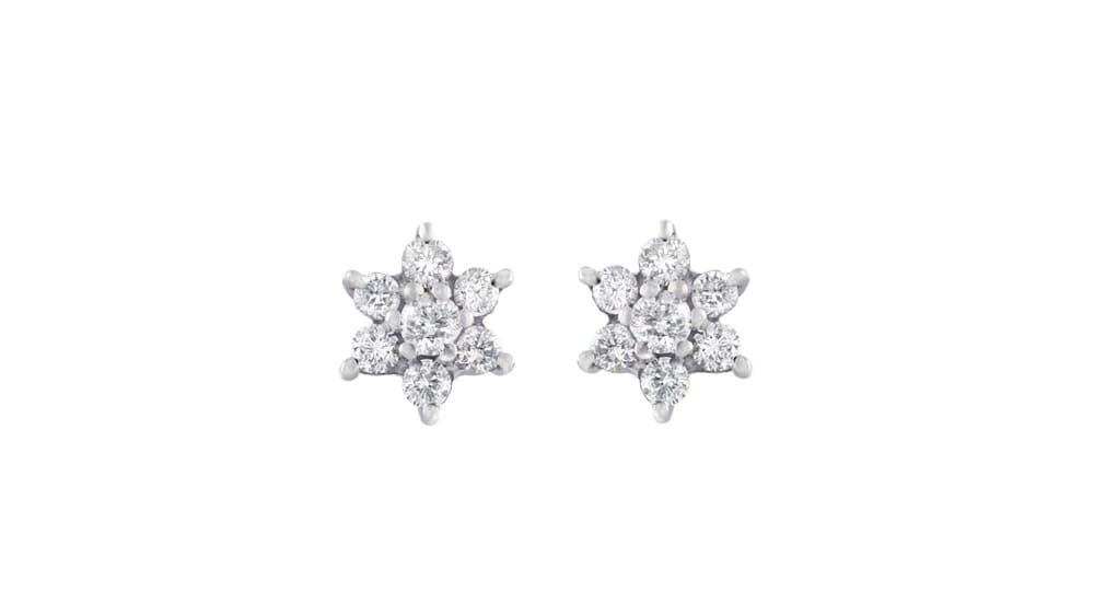 Star Shaped Cluster Studs | Beautiful Diamond Cluster Star shaped stud earrings.