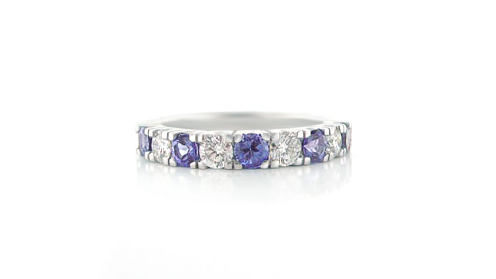 Rare African Tanzanite & Diamond Ring | Round tanzanite and white diamond eternity ring