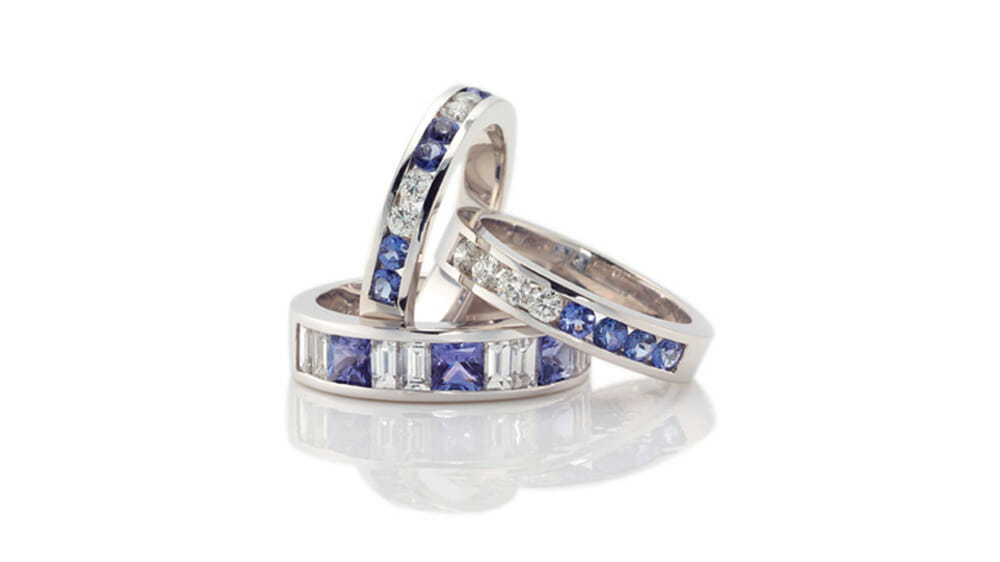 Rare African Tanzanite & Diamond Ring | Various Eternity Tanzanite and diamond rings