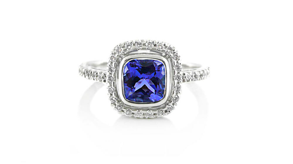 Tanzanite & Diamond Ring | Square Tanzanite and Diamond Halo Ring