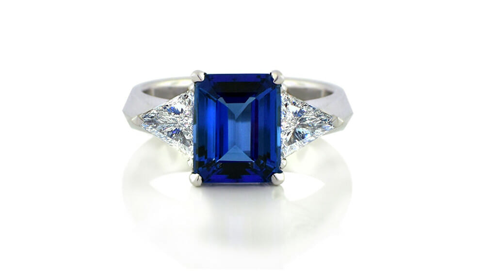 Rare African Tanzanite & Diamond Ring | Violet Blue Emerald Cut Tanzanite & Diamond Trilogy Ring