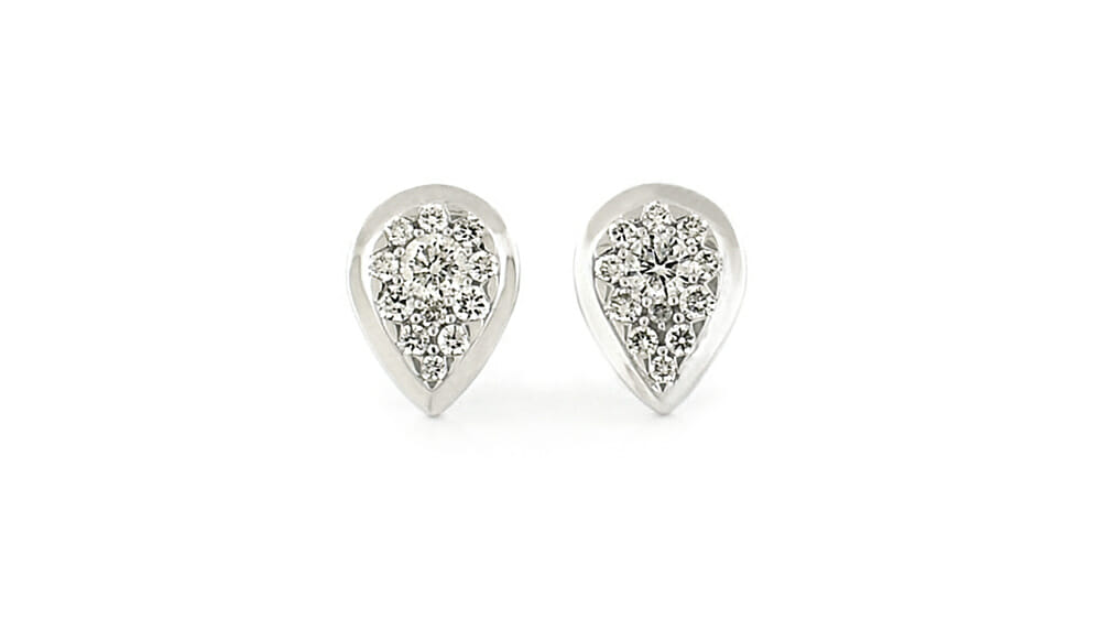 Diamond Earrings | Teardrop stud pave diamond studs
