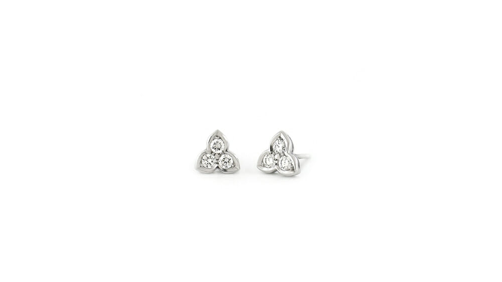 Diamond Earrings | Trefoil cluster diamond earrings