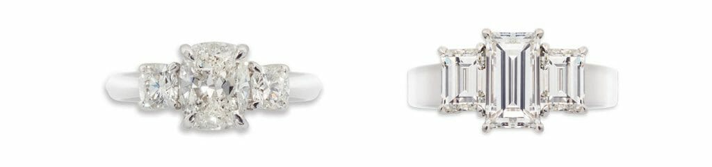 Rectangular Cushion Diamond Trilogy and Baguette Cut Trilogy rings