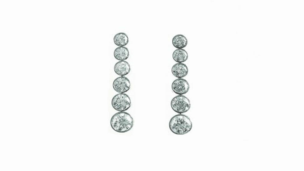 Diamond Earrings | Tube set tennis diamond earrings