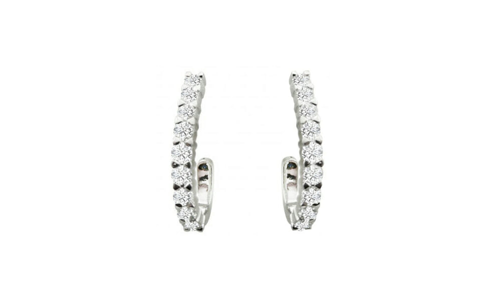 Diamond Earrings | Three quarter hoop diamond earrings