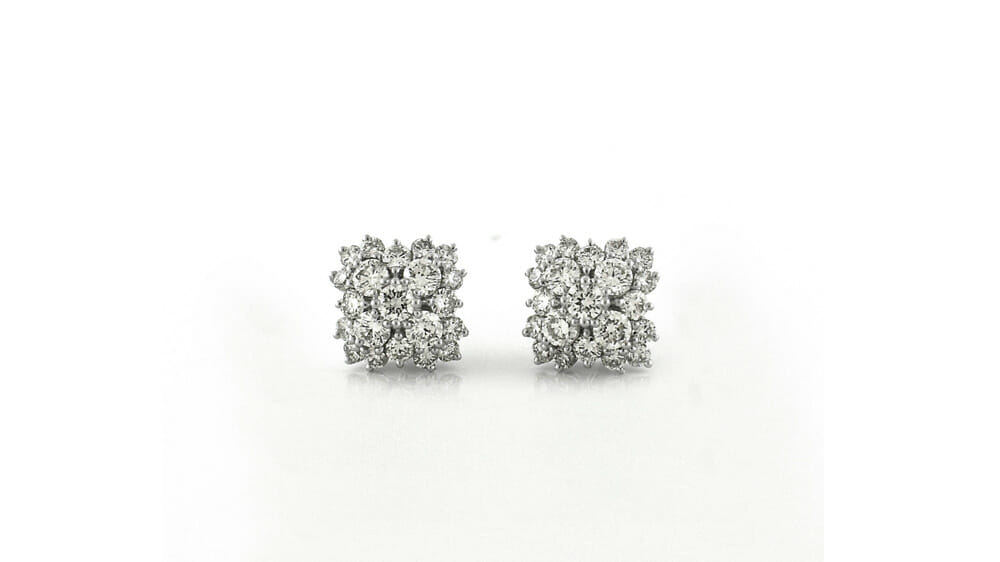 Diamond Earrings | Fancy cluster stud diamond earrings