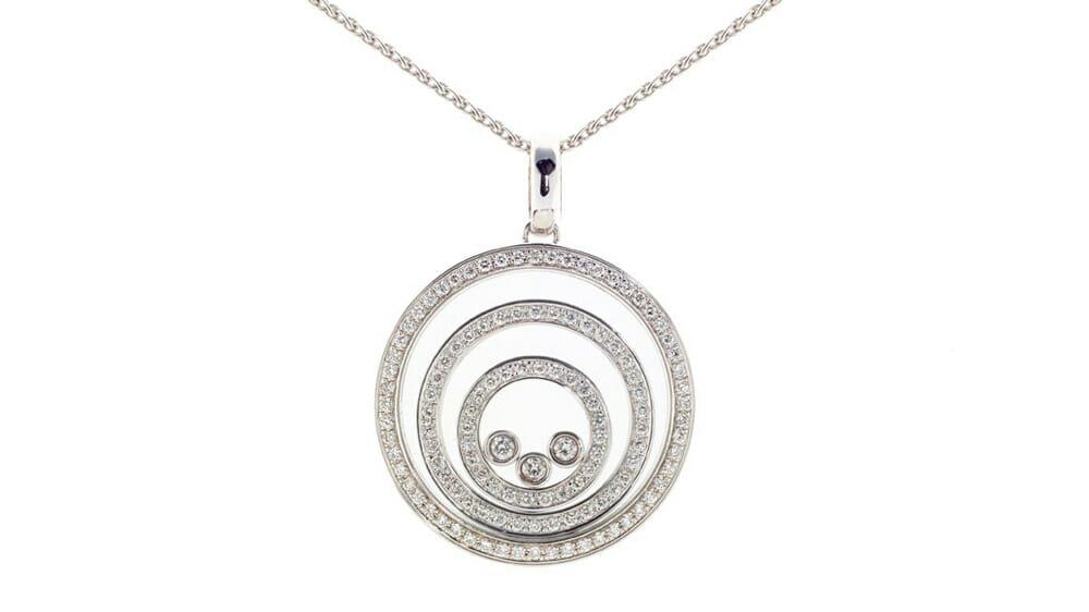 Floating Diamond Circle Pendant | Floating diamonds set in 3 circles pendant.