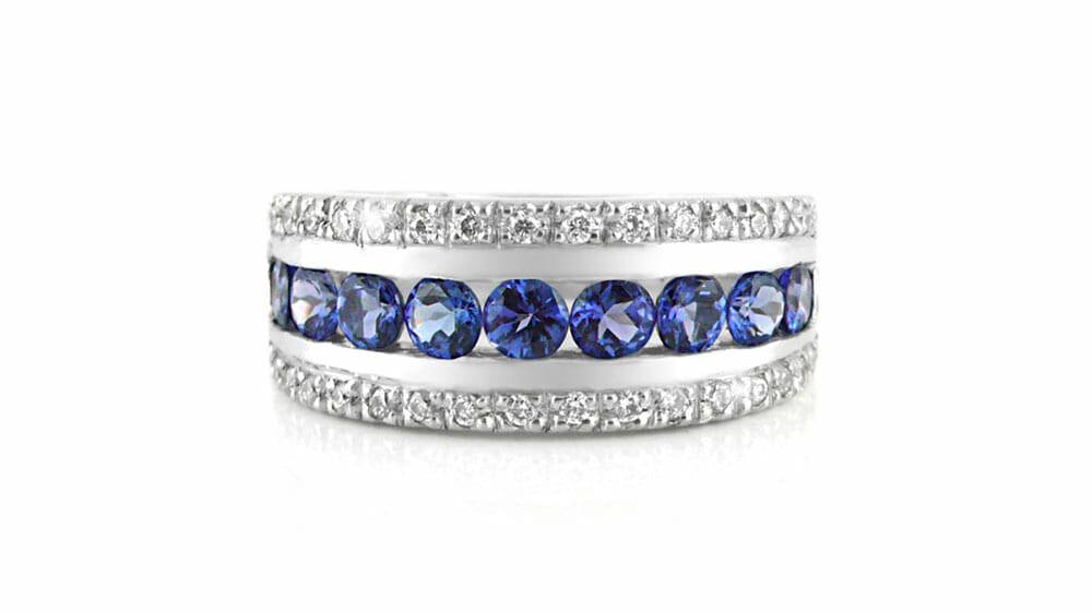 Tanzanite & Diamond Ring | Eternity tanzanite and diamond ring