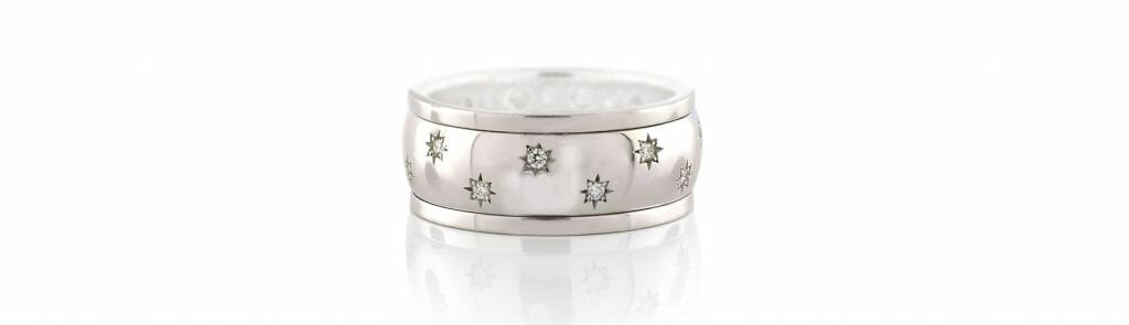 Star-studded swivel ring