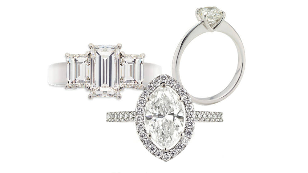 A collection of beautiful diamond engagement rings | MS Signiture Solitaire Ring, Baguette Diamond Trilogy Ring and Oval Cut Diamond Halo Ring