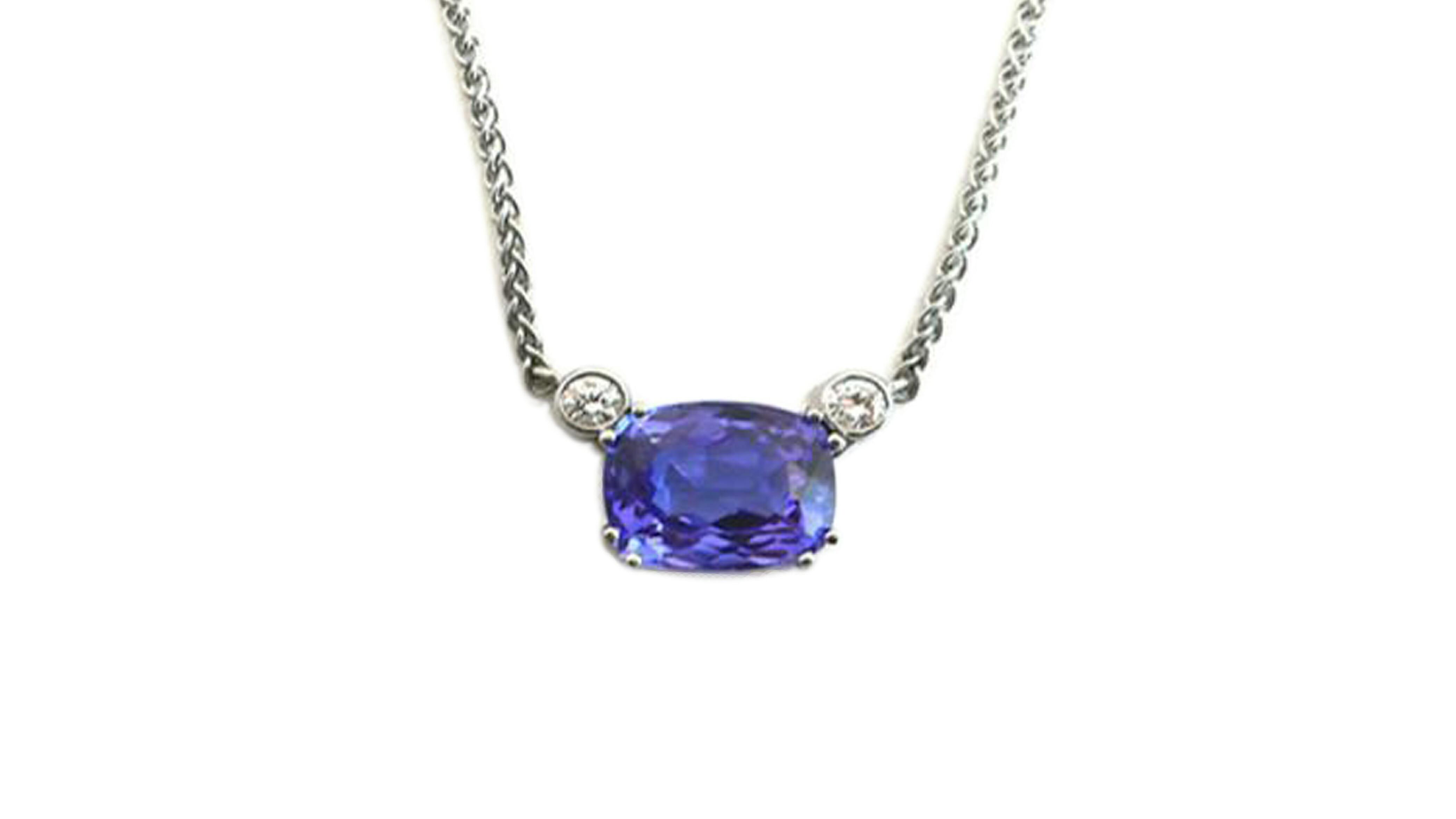 Cushion Tanzanite & Diamond Pendant-Necklace