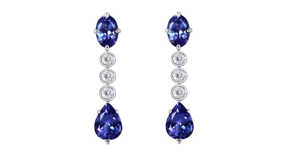 Oval & pear tanzanite & diamond drop earrings