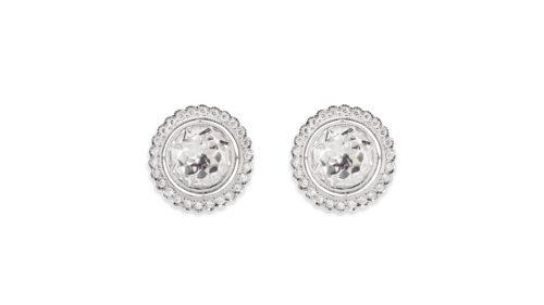 Rose Cut Diamond Halo Stud Earrings