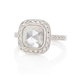 rose cut cushion diamond halo