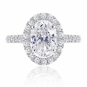oval diamond halo ring surrounded by diamond halo with diamond-set band