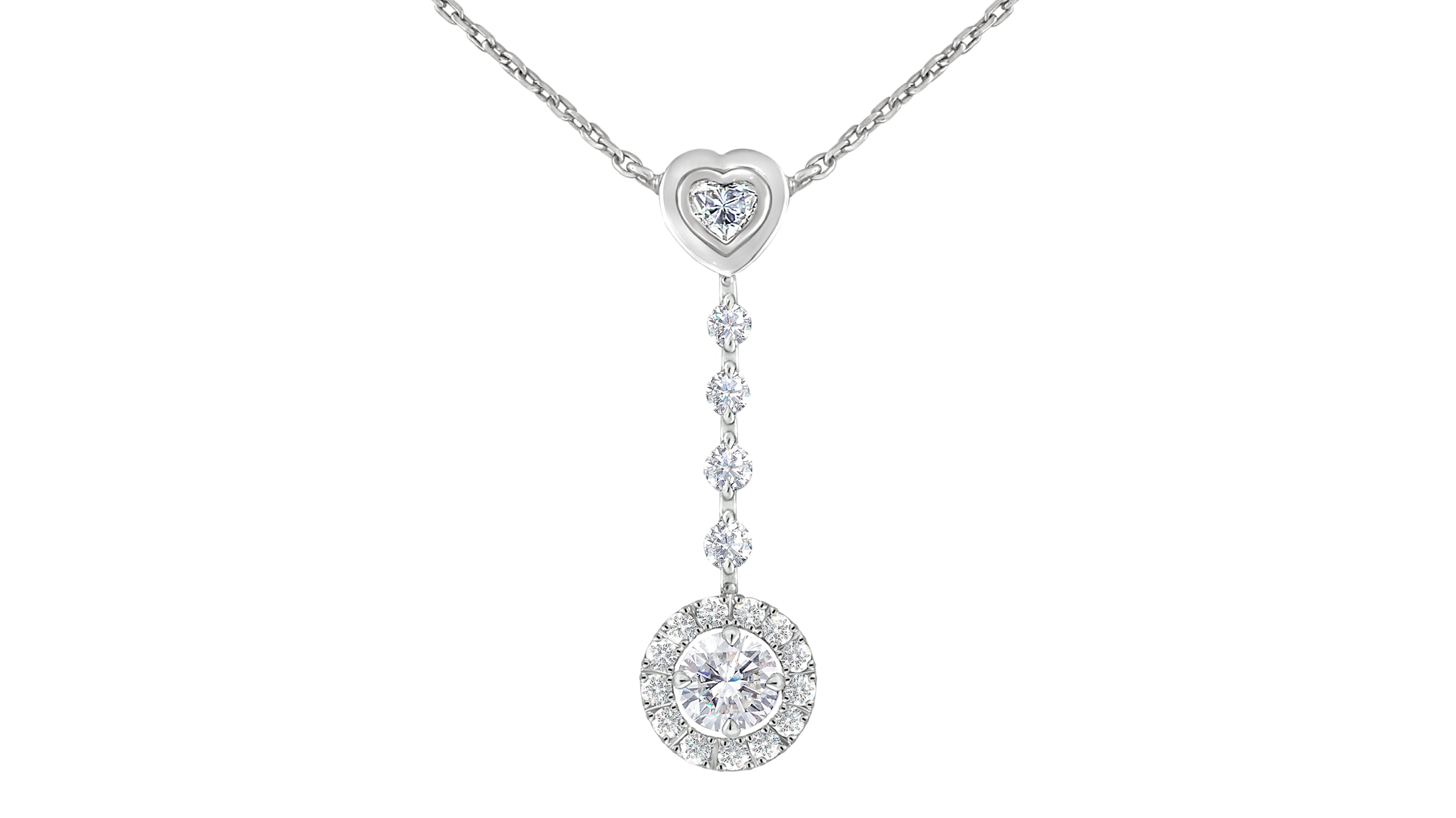 A whimsical heart-shaped diamond and diamon halo drop pendant set in 18carat white gold