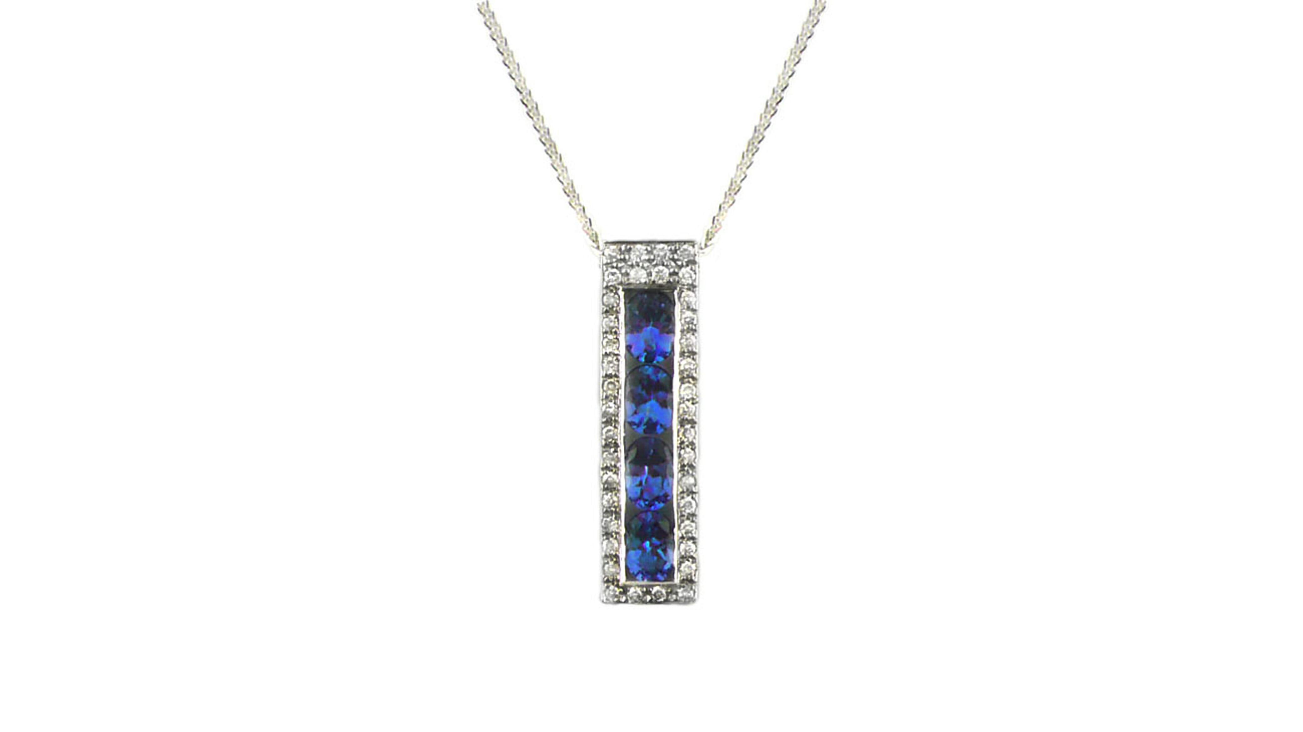 African tanzanite and diamond bar pendant