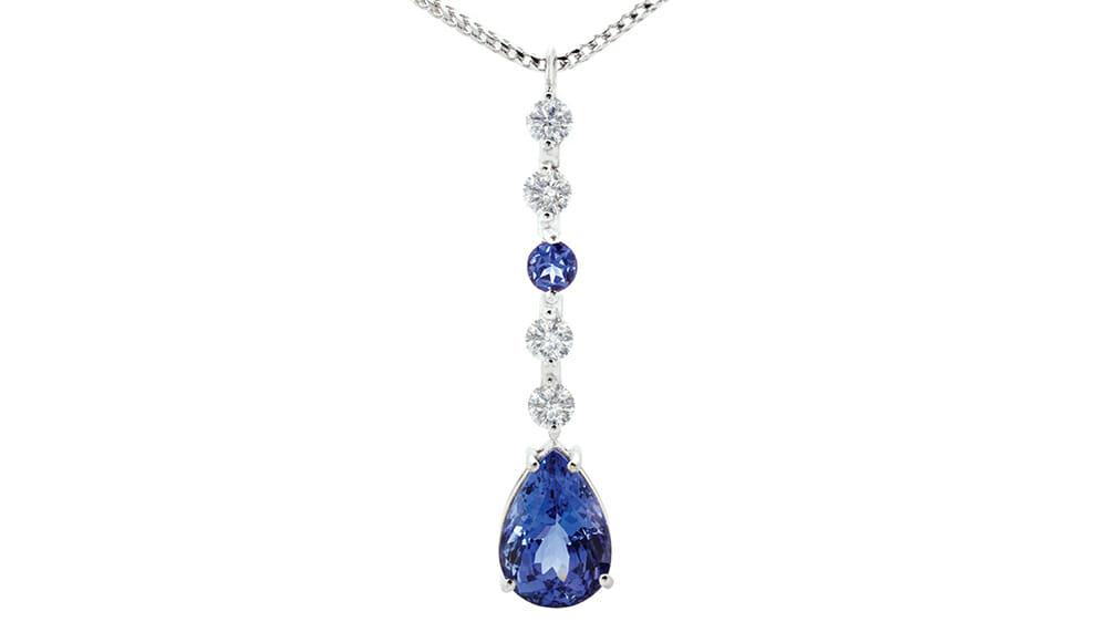 African Tanzanite and diamond pendant