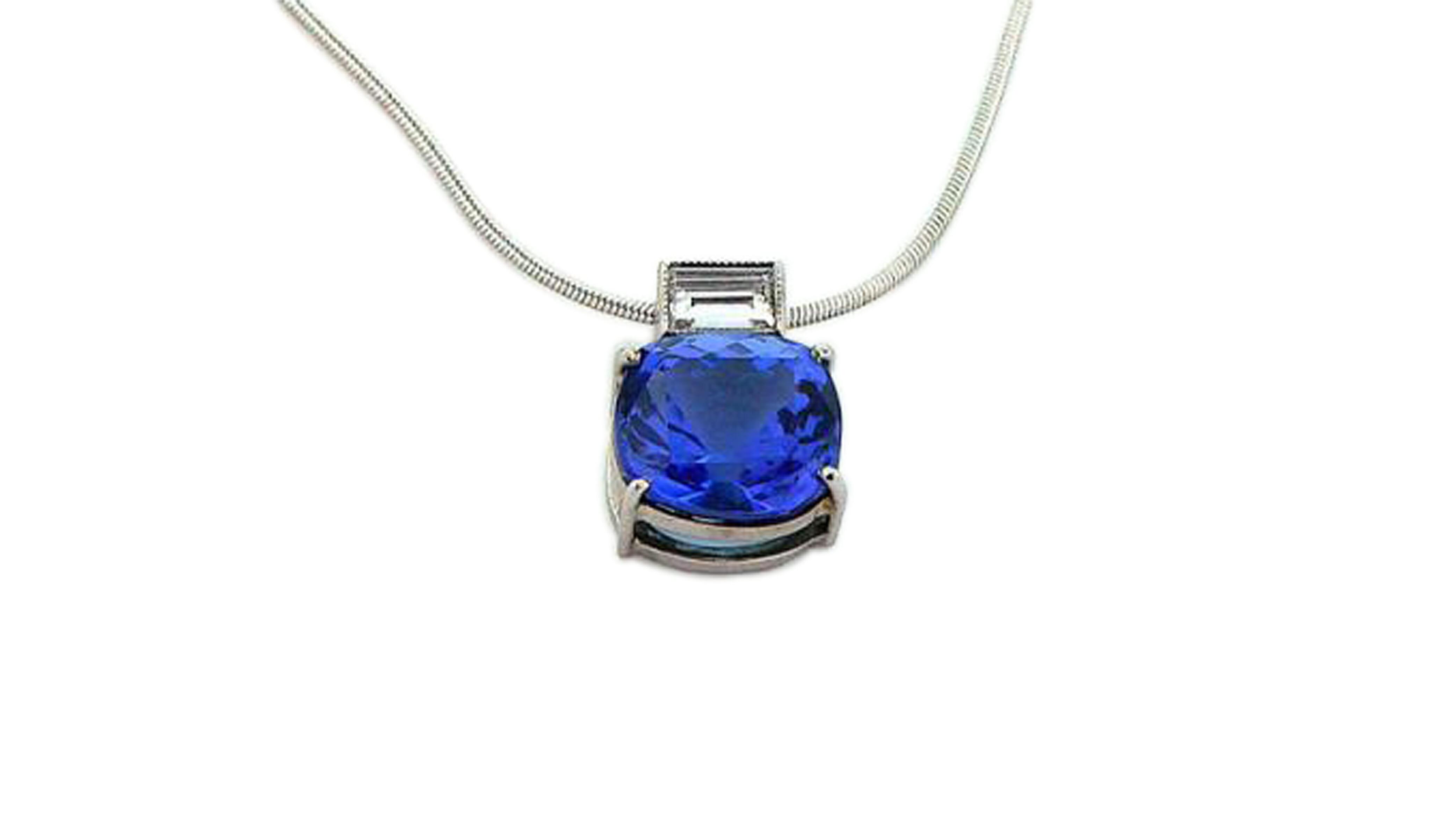 Round Tanzanite & Baguette Diamond Pendant