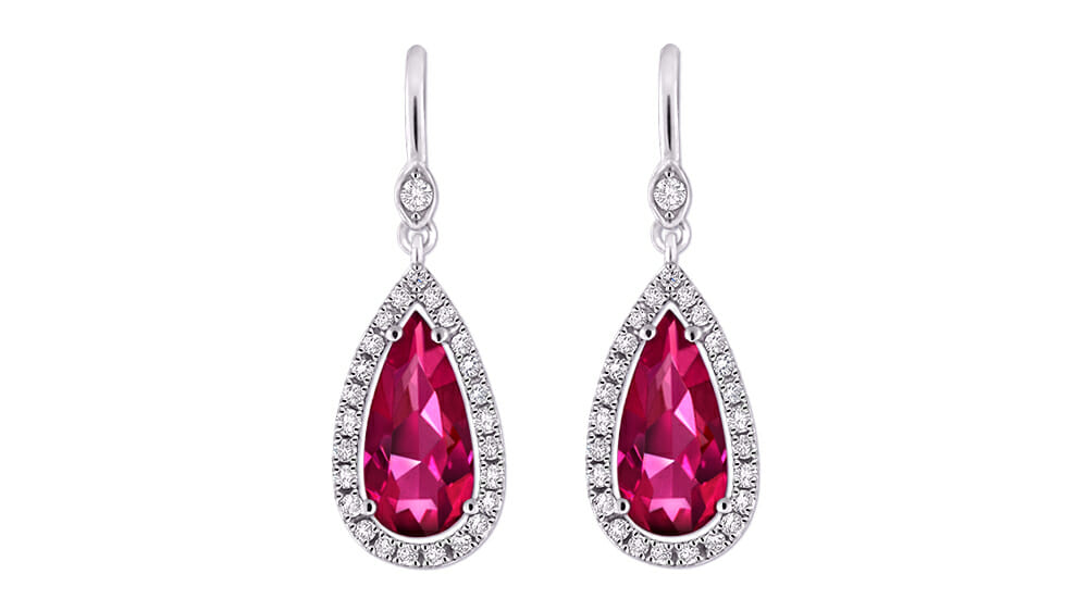 Vibrant pear pink tourmaline coloured gemstone and diamond halo earrings