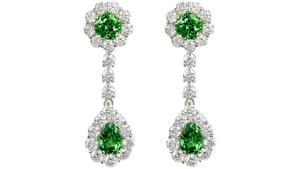 Tsavorite coloured gemstone and diamond drop earrings