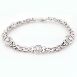 White Gold Cluster and Link Bracelet