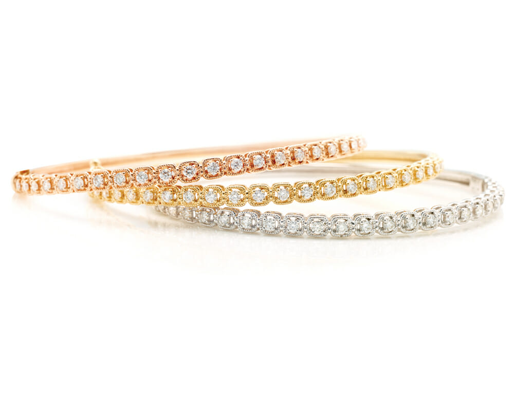 Diamond Bangles Jewellery Collection | Tri Colour Trinity Bangles | A Trio Of White Gold, Rose Gold & Yellow Gold Vintage Inspired Bangles