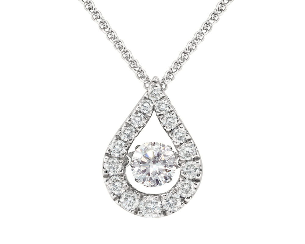 Dancing Diamonds Jewellery Collection | Tear Drop Diamond Dancing Diamond Pendant