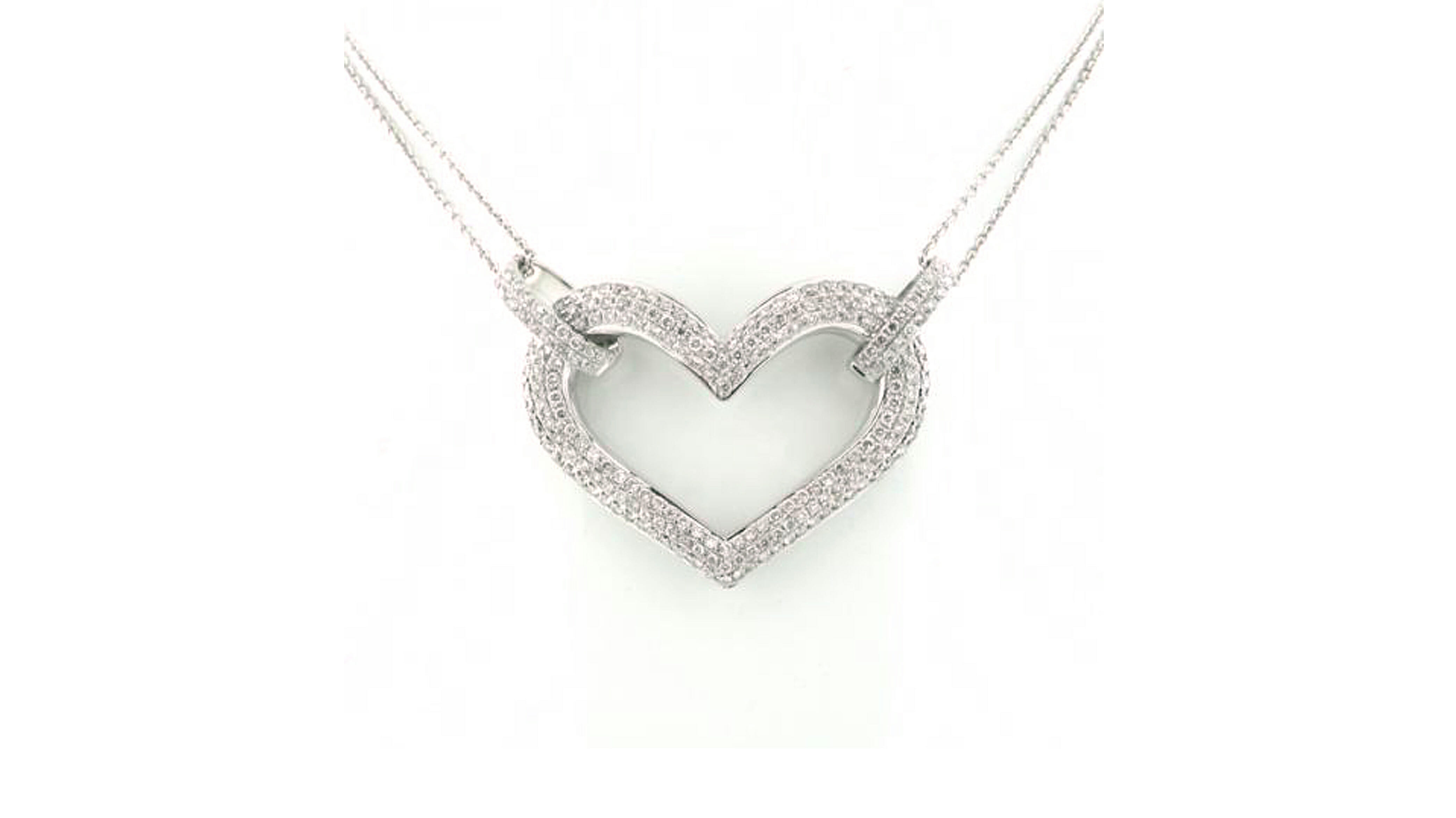 Pave-heart diamond pendant | White Gold Diamond Heart Pendant