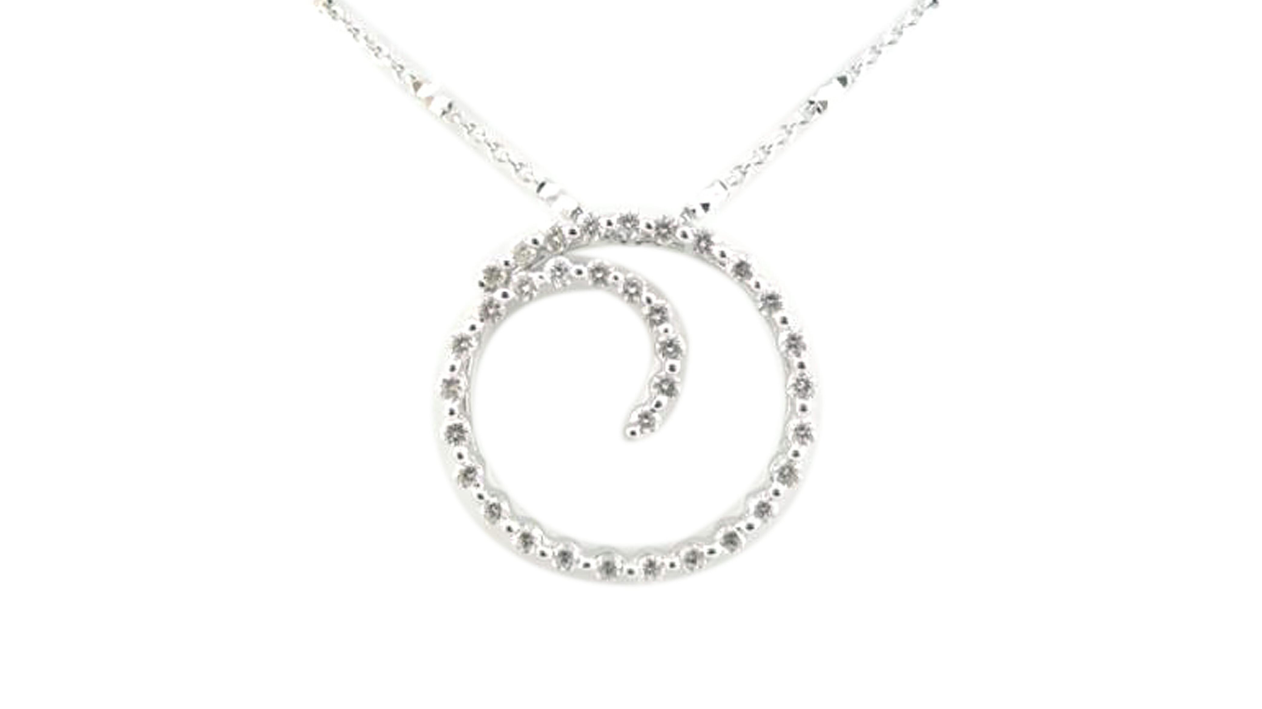 White gold swirl diamond pendant