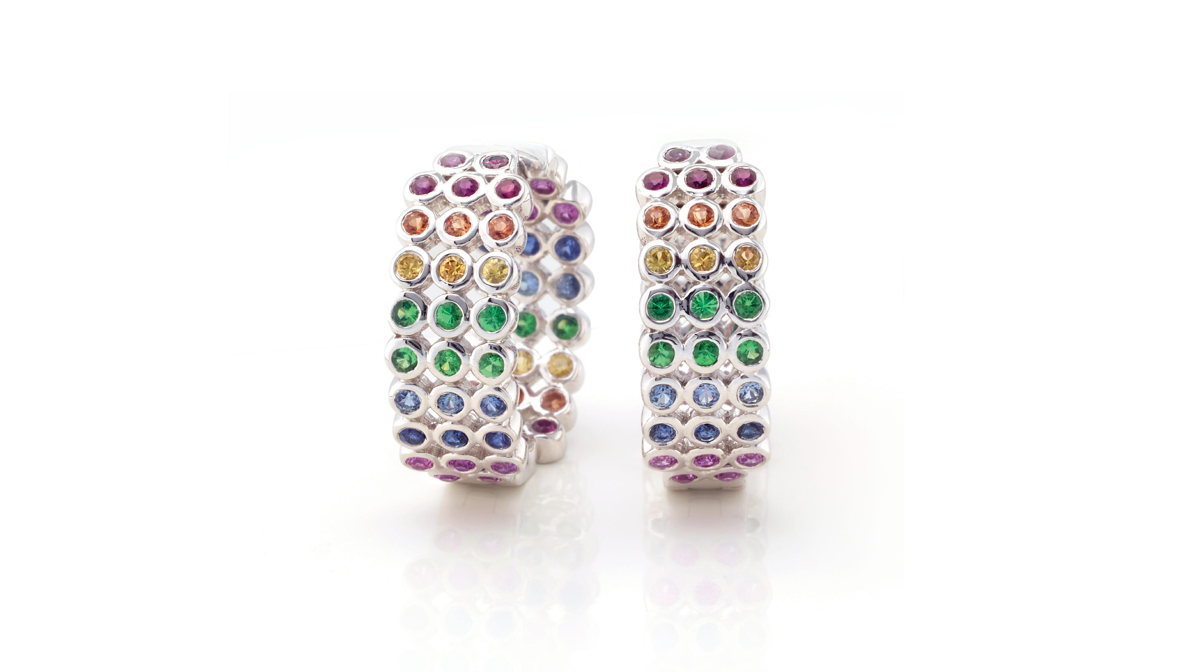 Rainbow Sapphire & rare Tsavorite White Gold Hoop Earrings