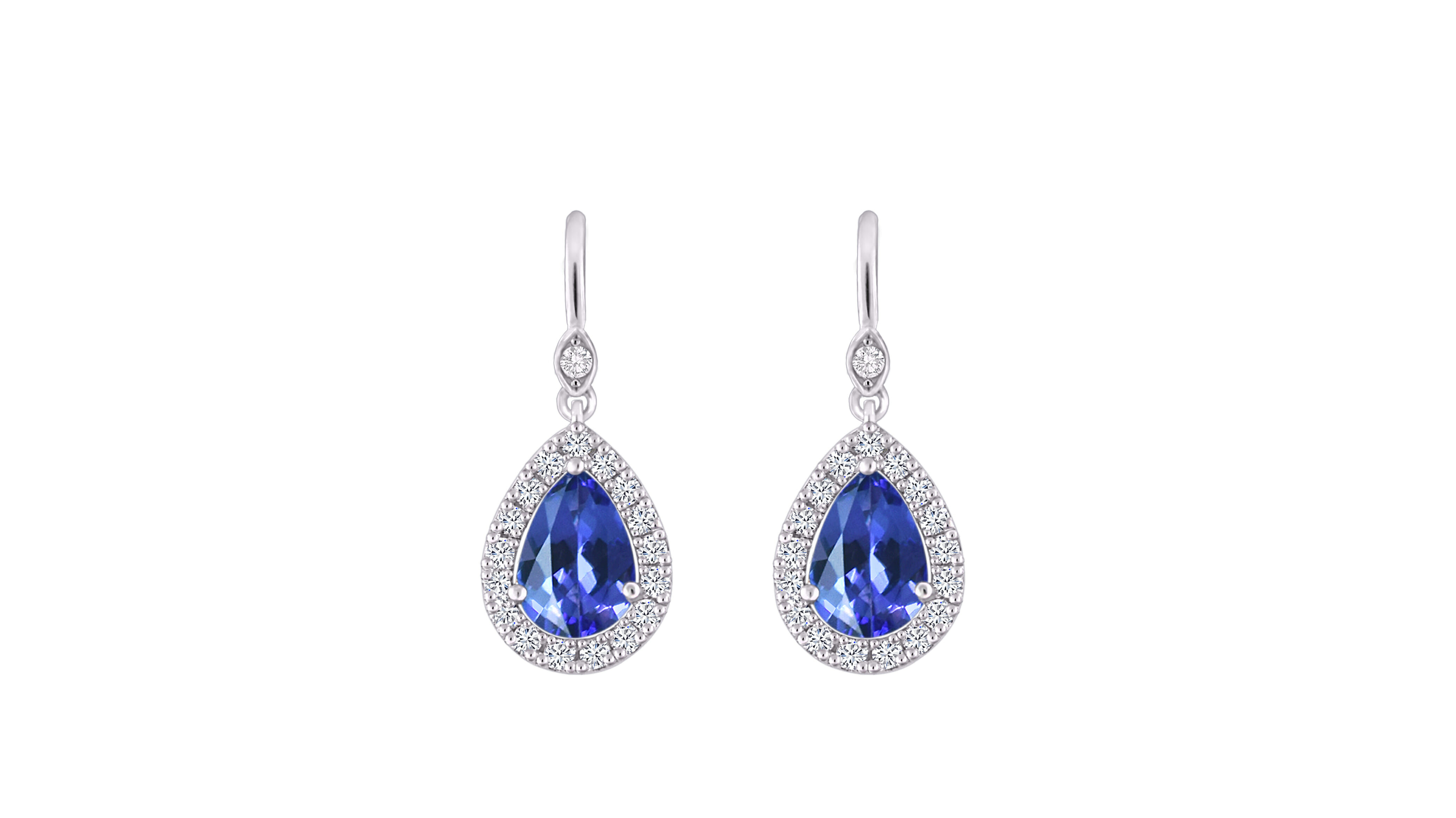 Pear and diamond halo earrings | Accent round brilliant diamond | Set i 18 carat white gold