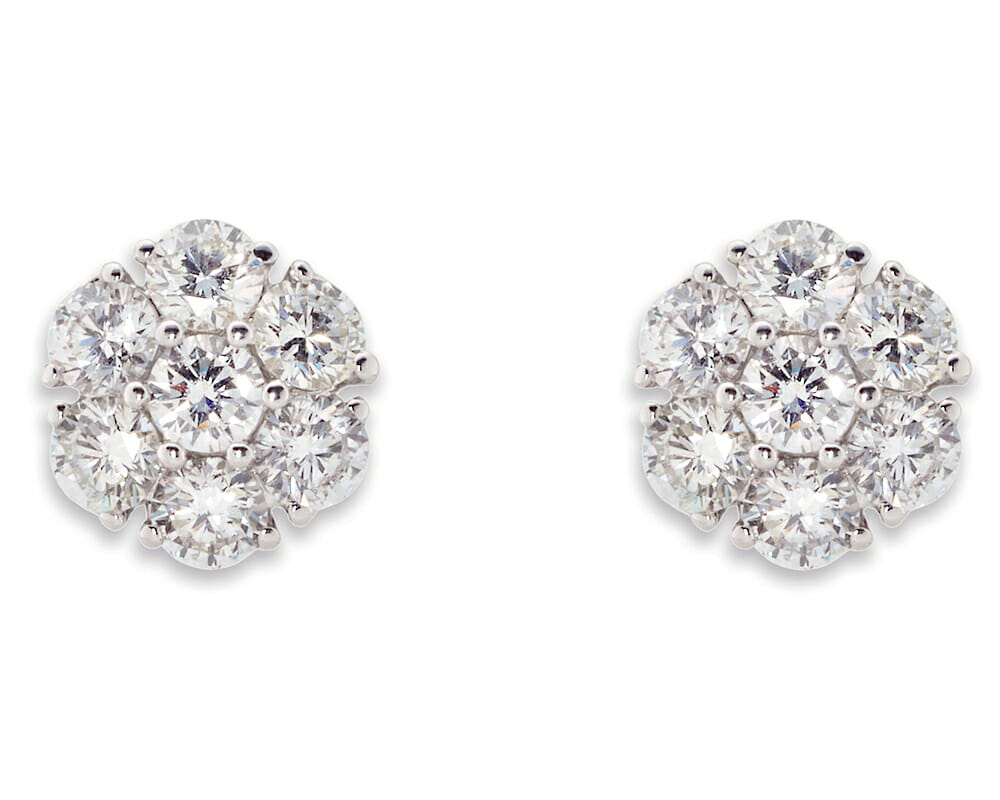Diamond Earrings Jewellery Collection | White gold, snowflake diamond stud earrings
