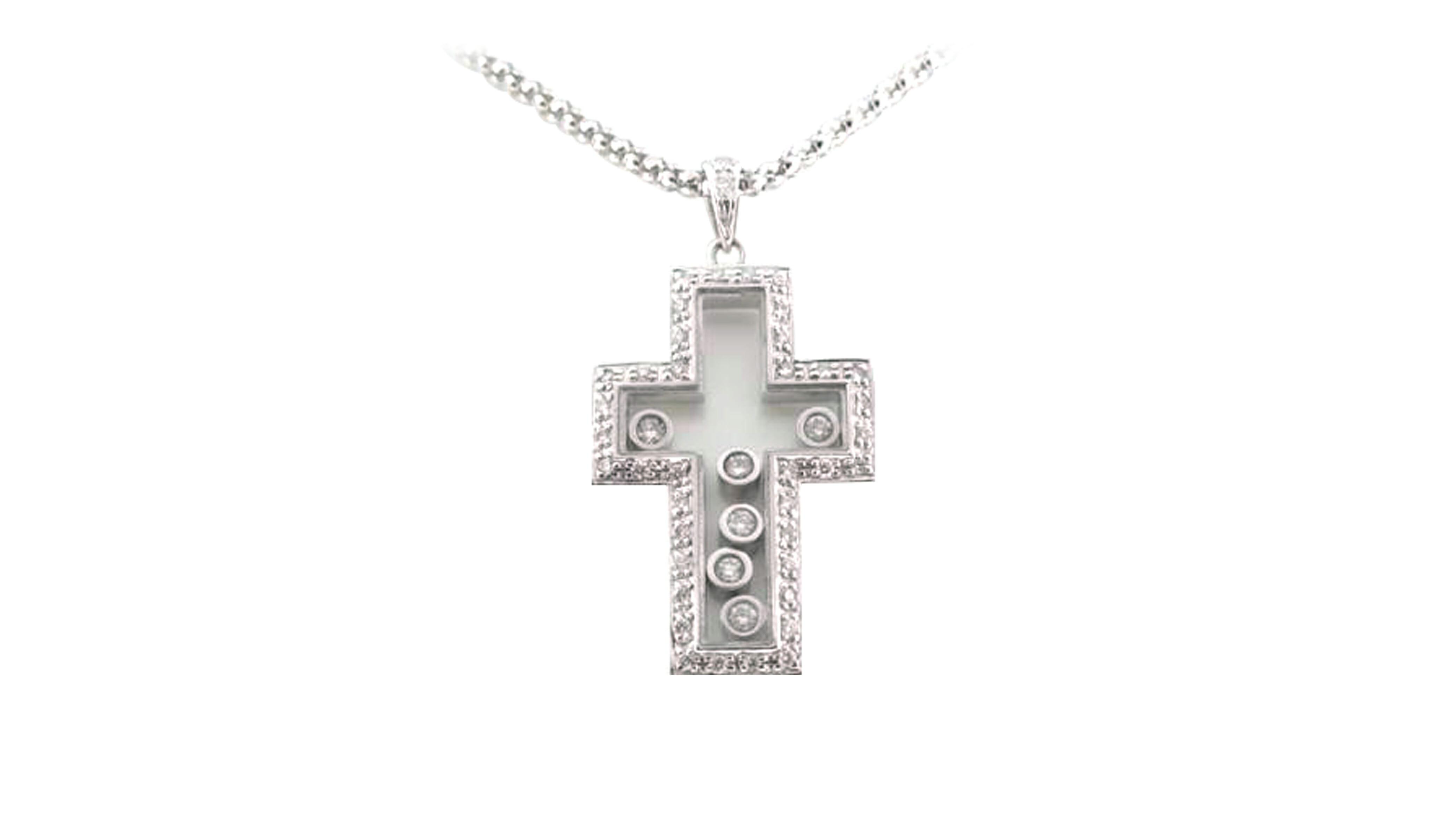White gold enchanted cross diamond pendant