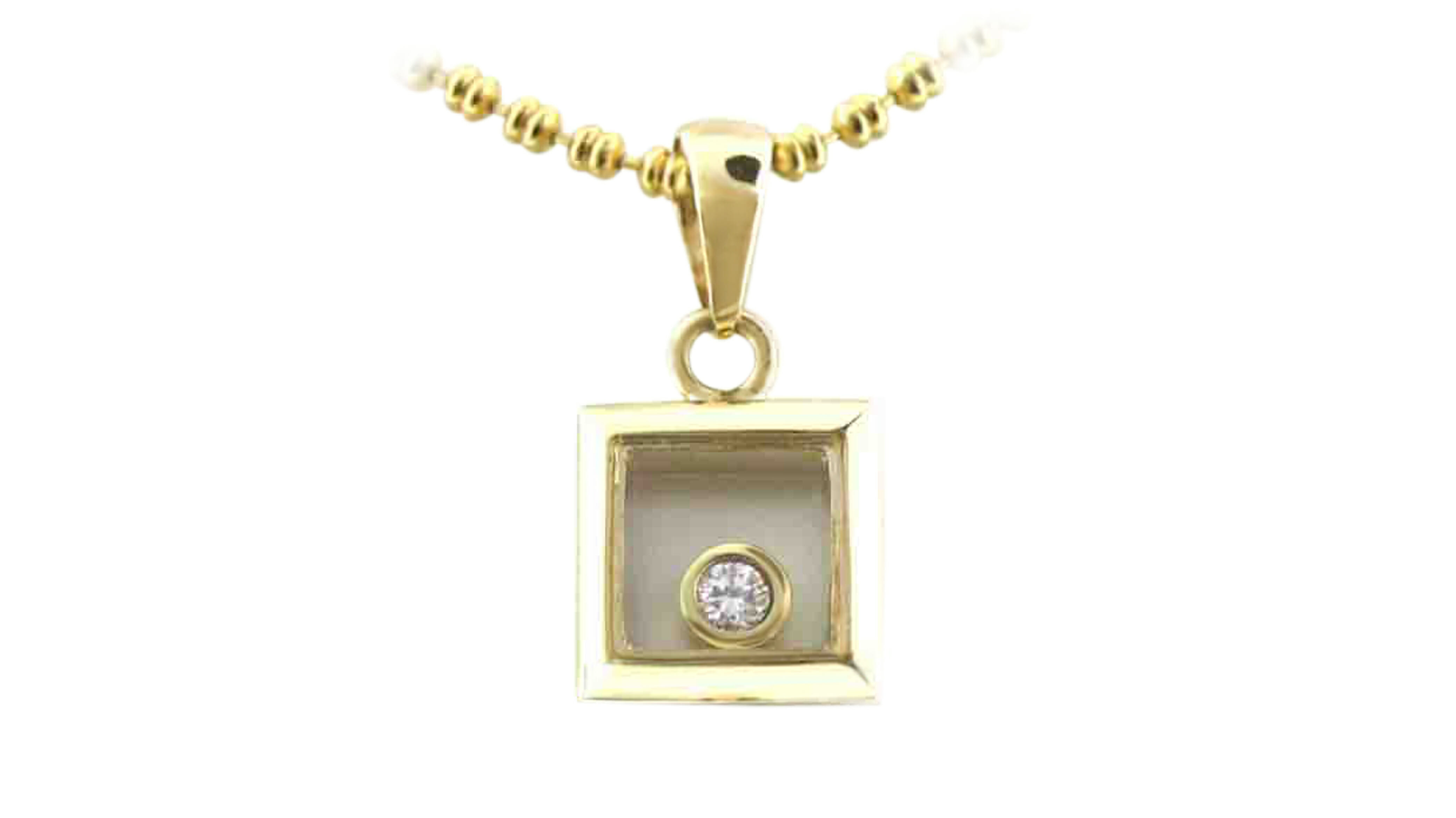 Yellow gold enchanted square solitaire diamond pendant