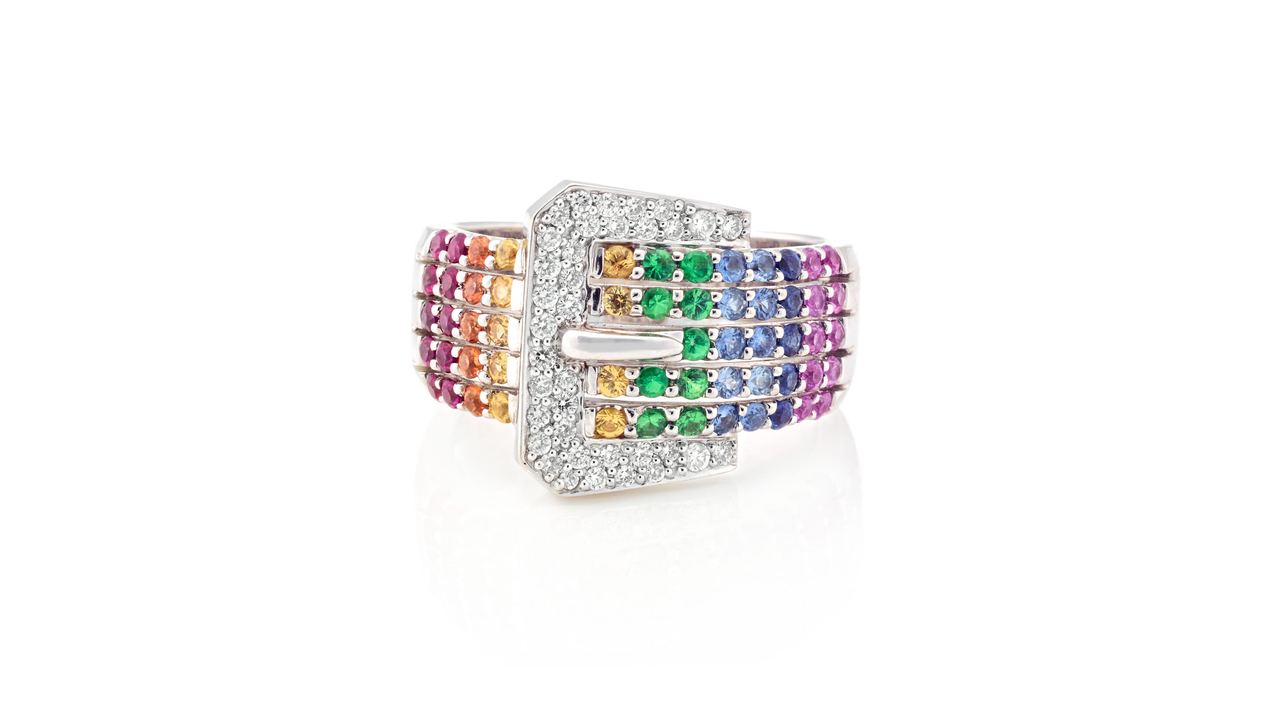 Belt Buckle Shaped Ring | Rainbow Sapphire & rare Tsavorite White Gold Ring