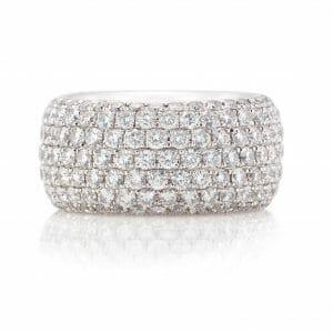 Broad Diamond Pavé Ring | 18 carat white gold dress ring