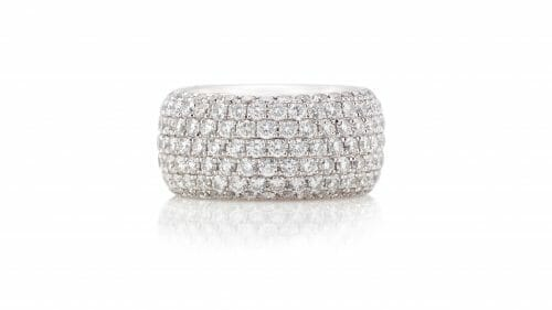 Broad Diamond Pavé Ring | 18 carat white gold dress ring