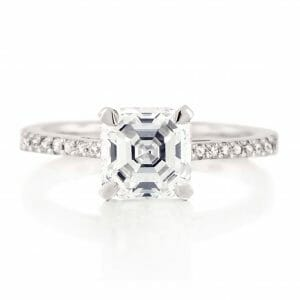 Asscher Cut solitaire ring with Micropavé Band