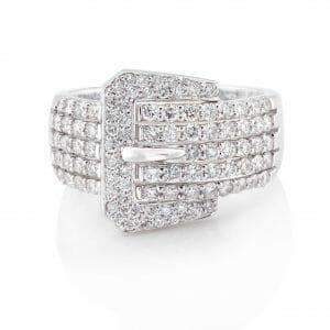 Diamond Dress Ring | Diamond Pave Buckle Dress Ring Set In 18 Carat White Gold
