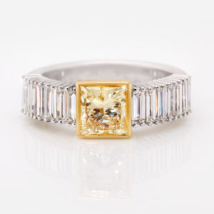 Yellow Princess Cut Diamond Dress Ring   18 Carat White & Yellow Gold Dress Ring