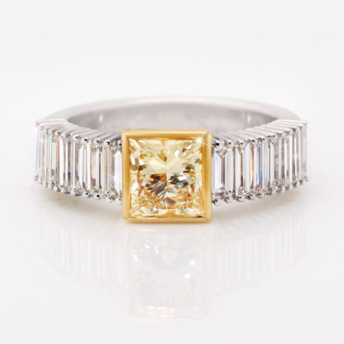Yellow Princess Cut Diamond Dress Ring | 18 Carat White & Yellow Gold Dress Ring