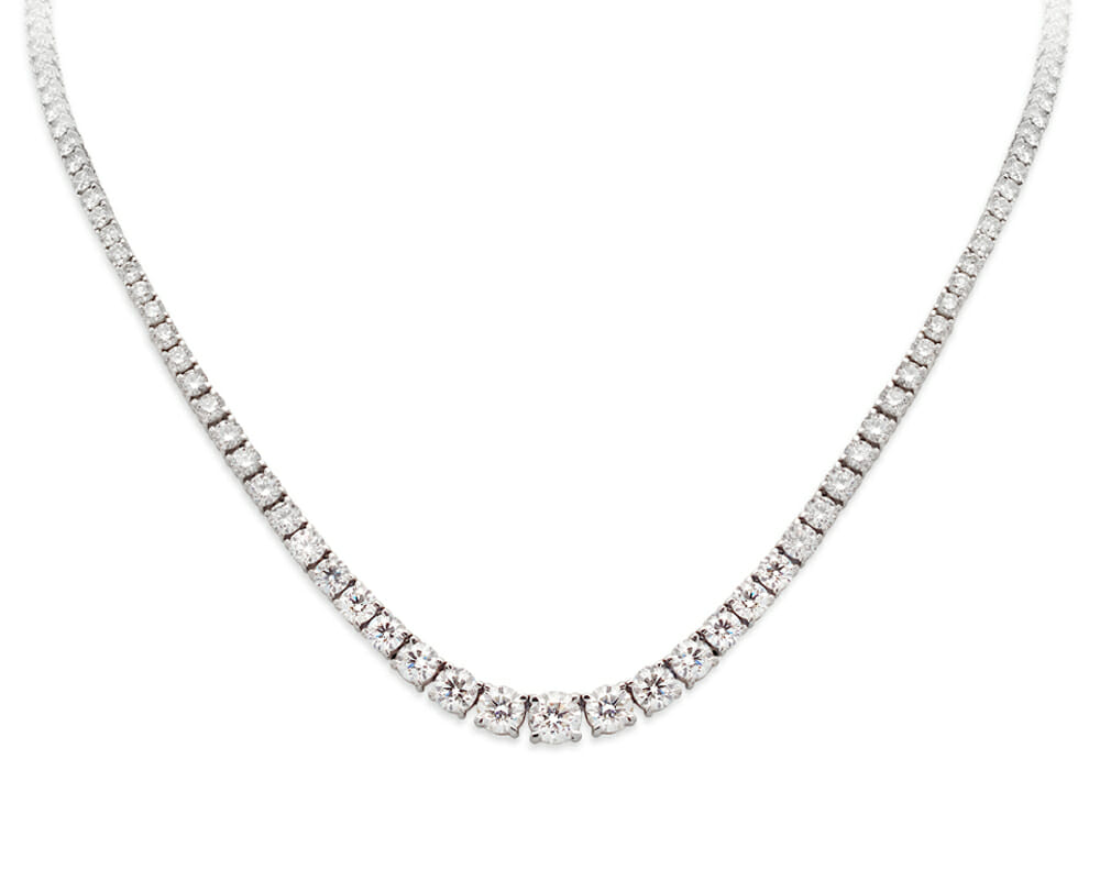 Diamond Necklaces Jewellery Collection | White Gold & Diamond Classic Tennis Necklace