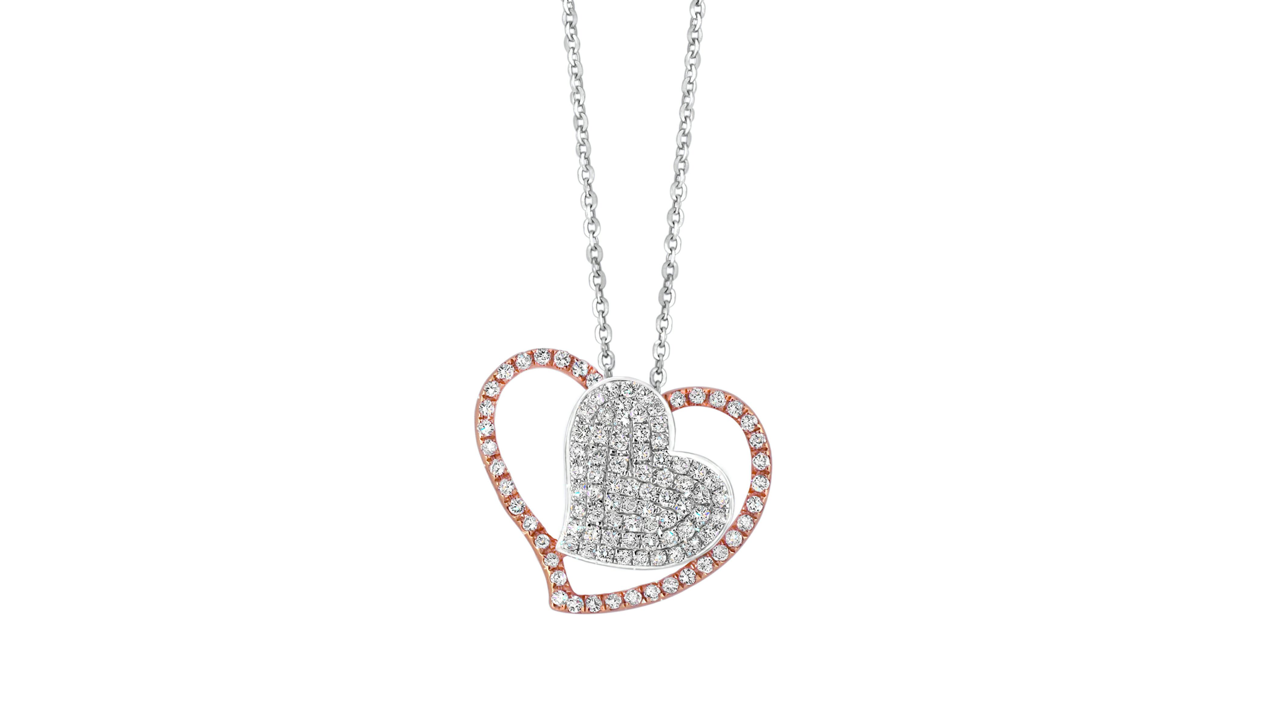 Two Tone Diamond Pavé Heart Pendant | A rose gold and white gold diamond heart pendant